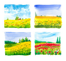 Set Of Watercolor Illustration With Landscape Sunflower And Poppy Fields. Nature Background. Organic Farms. Eco Growing. Agriculture.