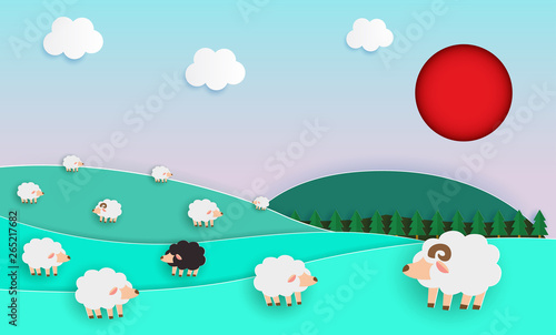 Foto auf Gartenposter Reef grun PrintHerd of sheep on green pasture, Paper cut Style, elements of farming landscapes with sheep and natural pastel color scheme background flat design vector illustration