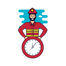 Firefighter Professional With Clock Time