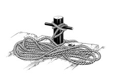 Vector Drawing Of Mooring Rope In Black Color, Isolated On White Background. Graphic Illustration, Hand Drawing. Drawing For Posters, Decoration And Print. Vector Illustration
