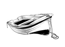 Vector Drawing Of Wooden Boat In Black Color, Isolated On White Background. Graphic Illustration, Hand Drawing. Drawing For Posters, Decoration And Print. Vector Illustration
