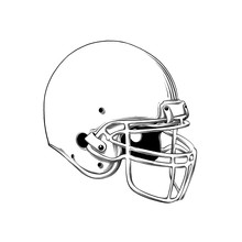 Vector Drawing Of American Football Helmet In Black Color, Isolated On White Background. Graphic Illustration, Hand Drawing. Drawing For Posters, Decoration And Print. Vector Illustration
