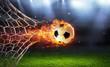 Leinwandbild Motiv Fiery Soccer Ball In Goal With Net In Flames