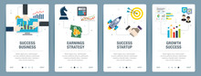Vector Set Of Vertical Web Banners With Success Business, Earnings Strategy, Success Startup And Growth Success. Vector Banner Template For Website And Mobile App Development With Icon Set.