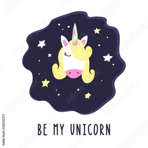 Cute cartoon unicorn with stars and the inscription Be my Unicorn Canvas Print