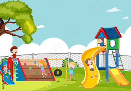 Fototapety, obrazy: Kids playing in playground scene