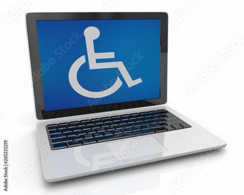 Wheelchair Disabled Person Symbol Disability Laptop Computer Software 3d Illustr Canvas Print