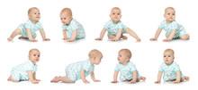 Set Of Cute Little Baby Crawli...