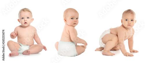 Canvastavla  Set of cute little babies crawling on white background