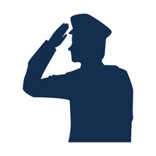 Military Man Silhouette Icon