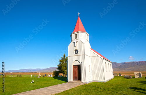 Colorful Rustic Church on an Iceland Plain