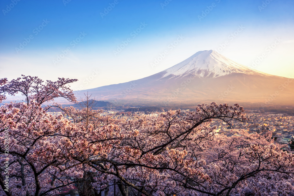 Fujiyoshida, Japan Beautiful viewed from behind red Chureito Pagoda at sunset, japan in the spring with cherry blossoms