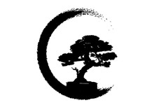 Japanese Bonsai Tree Logo, Plant Silhouette Icons On White Background, Green Ecology, Black Silhouette Of Bonsai. Detailed Image. Bio Nature Concept. Vector Isolated