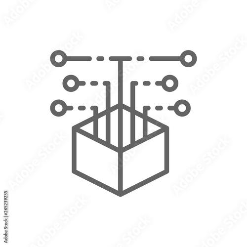 Billede på lærred Open source code, web development line icon.