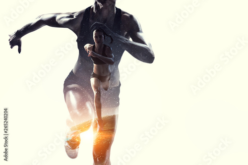 Fototapeta  Abstract concept of running young sportswoman