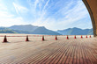 Wooden board platform and green mountain natural landscape