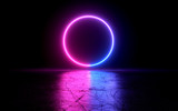 neon light shapes on black background,rainbow colors, 3d rendering,conceptual image.
