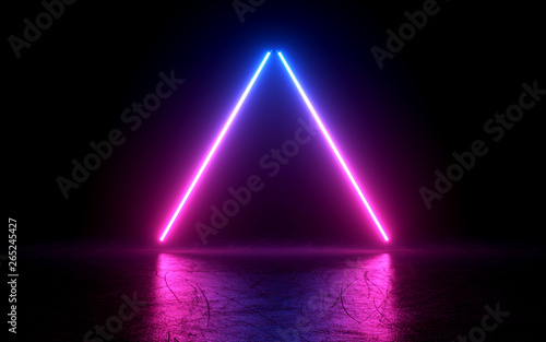 neon light shapes on black background,rainbow colors, 3d rendering,conceptual image Canvas Print