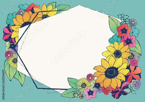 レトロ調 夏のフレーム 向日葵 手書きの花柄 背景素材 和柄