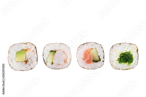 Fototapeta Sushi rolls isolated on white background. Collection. Close-up of delicious japanese food with sushi roll. obraz
