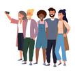 Millenial diverse group taking selfie