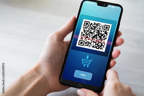 Valokuva  QR code mobile phone scan on screen
