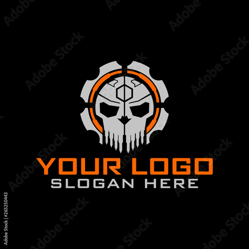 Tactical military Skull Gear design armory squadrone team in shield logo template Wallpaper Mural