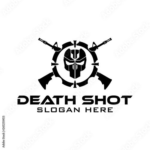 Tactical Target Death Shoot Skull Rifle military Gear design armory squadrone team in circle black and white logo template Tablou Canvas