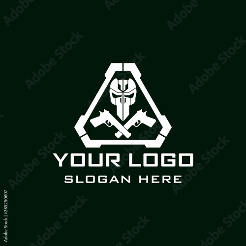 Skull Tactical military armory squadrone team in triangle with gun weapon logo template Canvas Print
