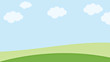 landscape design with bench on grass cloud on Soft gradient pastel, Abstract background in sweet color