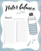 Water Balance Vector Calendar....