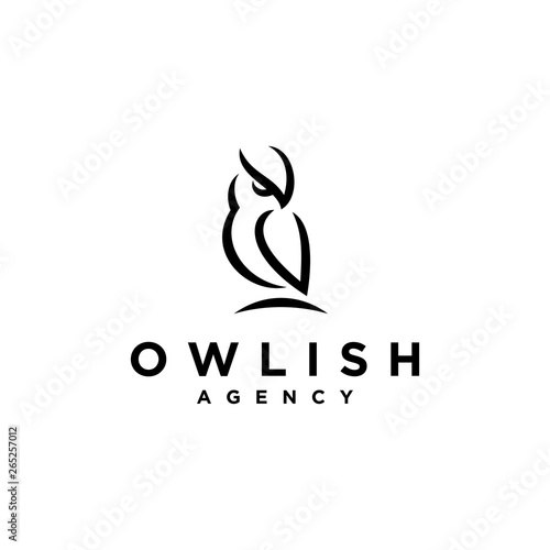 Aluminium Prints Owls cartoon strong owl logo design