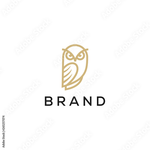 Keuken foto achterwand Uilen cartoon owl line logo design