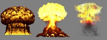 3D Illustration Of Explosion - 3 Big Very Detailed Different Phases Mushroom Cloud Explosion Of Atom Bomb With Smoke And Fire Isolated On Grey