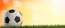 Soccer Ball Green Grass Orange Background 3d-illustration