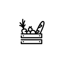 Vector Food Wooden Box Icon