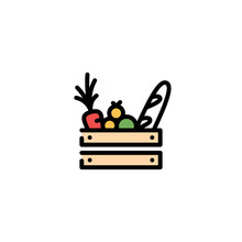 Vector Food Wooden Box Icon