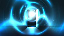 Light Tunnel From Open Door Of Dark Room, Abstract Mystical Paranormal Glowing Exit. Light In The End Of A Tunnel. Portal To Another World, Alien Universe. Open Door Template, Sci-fi Background