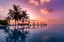 Sunrise Blue And Pink Light Scattering Across The Clouds And Pool, Reflecting The Infinity Pool And Silhouetted Palm Trees. Luxury Resort And Travel Destination Concept, Vacation Mood, Summer Holiday