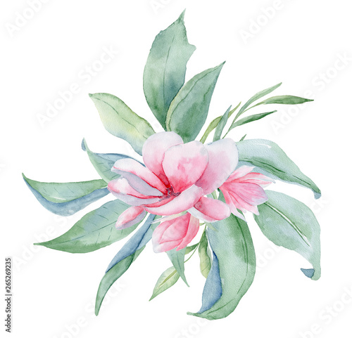 Pinturas sobre lienzo  Tropical watercolor flowers and leaves
