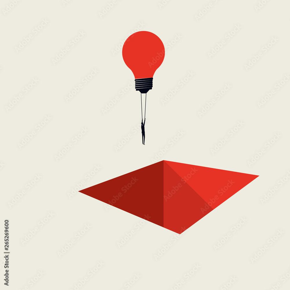 Fototapety, obrazy: Business creative solution vector concept with businessman flying lightbulb over hole. Minimalista art style. Symbol of innovation, brainstorming, development, progress.
