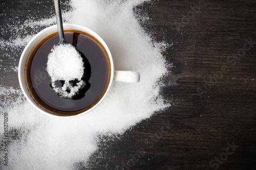 Obraz na plátně  unhealthy white sugar concept