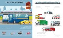 Flat City Transport Infographic Concept