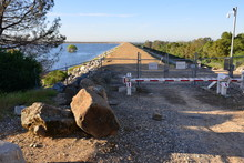 A Barrier At A Service Road At Folsom Dam.