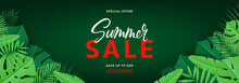 Summer Sale Horizontal Tropical Banner. Vector Green Illustration With Tropical Leaves In Paper Cut Style On Dark Green Background.