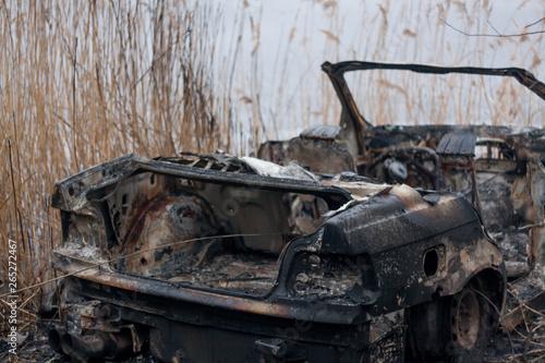 burnt car, car werc, set on fire, arsonist, burnt car in the open air Wallpaper Mural