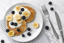 Healthy Pancakes With Fresh Berry, Fruits And Yogurt. Summer Breakfast Concept.