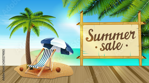 Summer sale, web banner with beautiful seascape, palm leaves, wooden