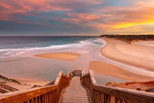 A Beautiful Sunrise At Southport Port Noarlunga South Australia Overlooking The Wooden Staircase Ocean And Cliffs On The 30th April 2019