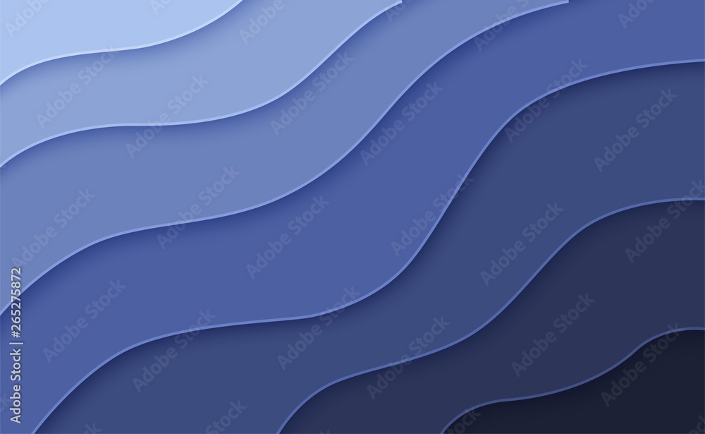 Fototapeta Abstract wavy background in paper art style